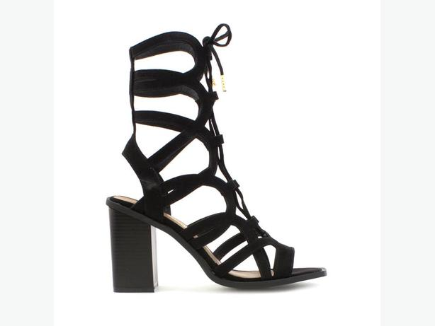 Womens black cut out sandals