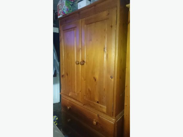 solid pine wardrobe with 3 drawers