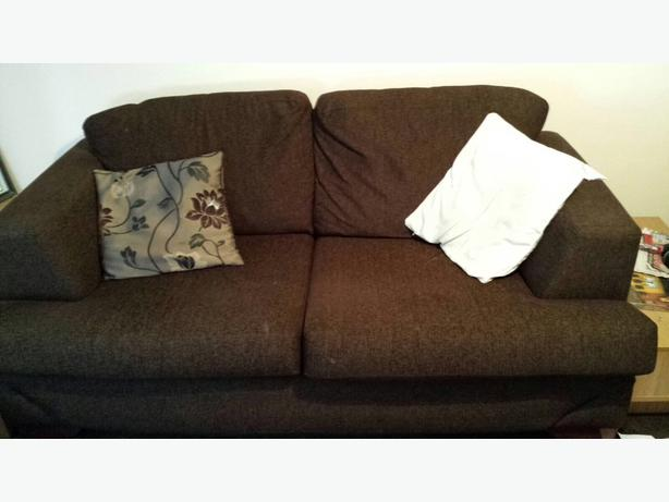brown fabric sofa 3 seater
