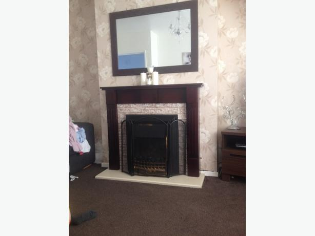 electric fire with surround and mirror