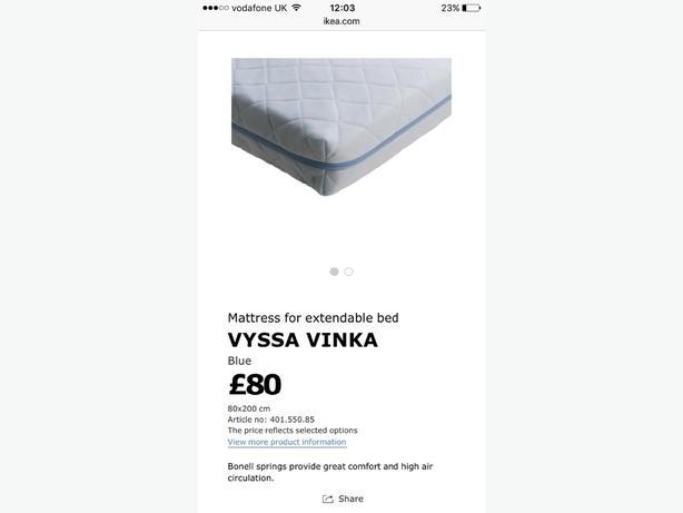 IKEA Childrens Minnen Bed & Mattress