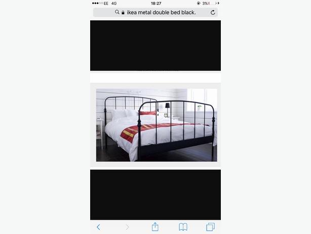 ikea black metal double bed with matress