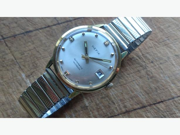 VINTAGE 1960S G/PD SWISS HEFIK 25ILS AUTOMATIC DATE MENS WATCH ETA 2472 M/M GWO