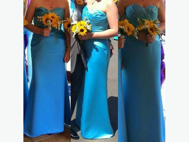 Coral blue bridesmaids dress