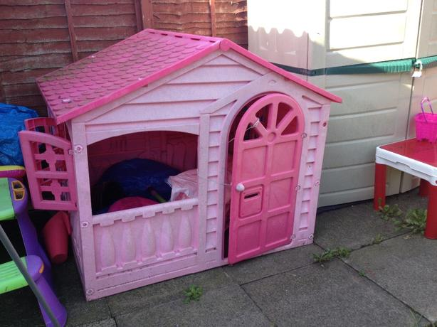 Pink Outdoor Plastic Playhouse