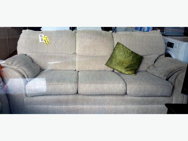 BEIGE 3 SEATER SOFA + ARMCHAIR - FREE DELIVERY