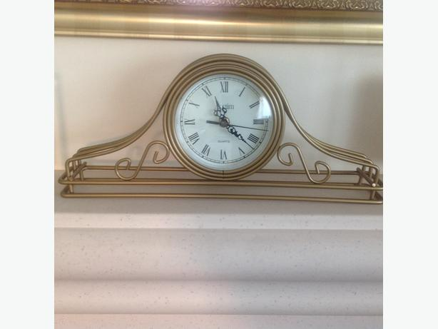 gold mantle clock & gold lamp with white shade