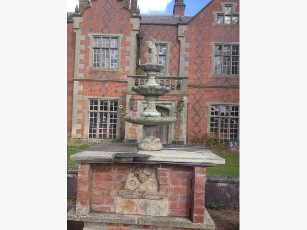Vintage French Old Style Stone Round Acanthus Cherub 3 Tier Garden Fountain