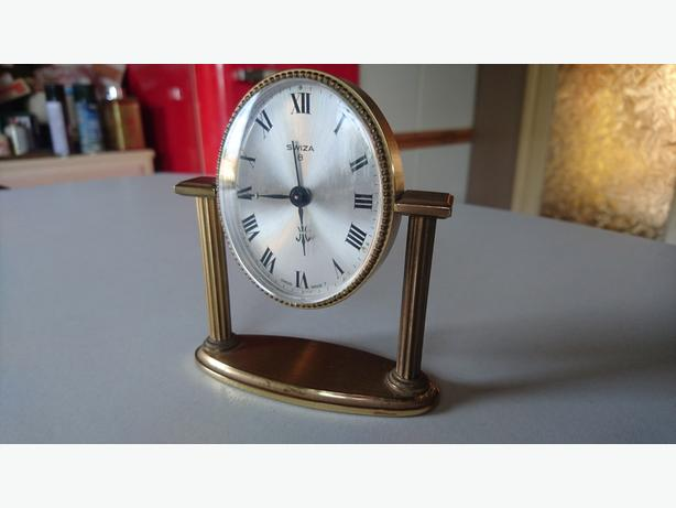 VINTAGE 1960S STYLISH BRASS SWISS WIND UP SWIZA 8 DAY DESKTOP ALARM CLOCK VGWO
