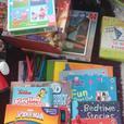 job lot books, puzzles, bean bag chair, etc
