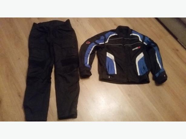 textile motorbike jacket and trousors