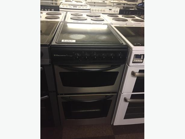 ELECTROLUX BLACK/SILVER 50 CM WIDE ELECTRIC COOKER WITH AND