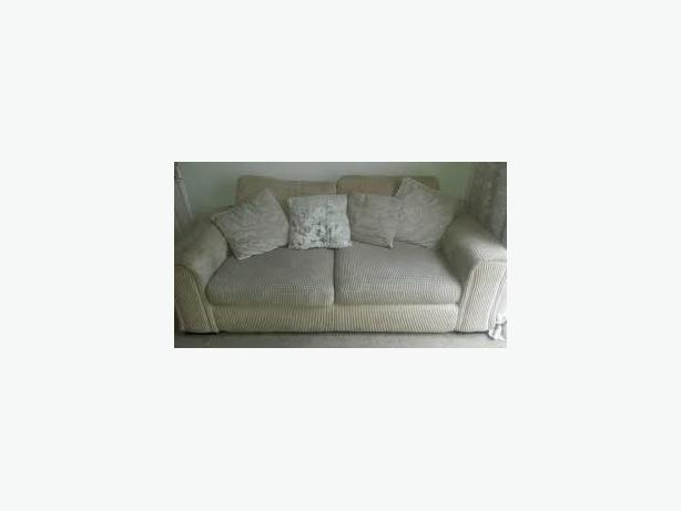 2 2 seater settees cream corduroy with scatter cushions from dfs