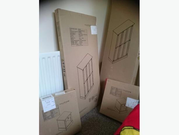Brand new flat packed wardrobe and bedside tables