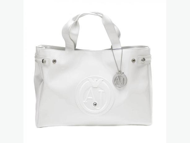 WHITE ARMANI JEANS Patent Bag AJ