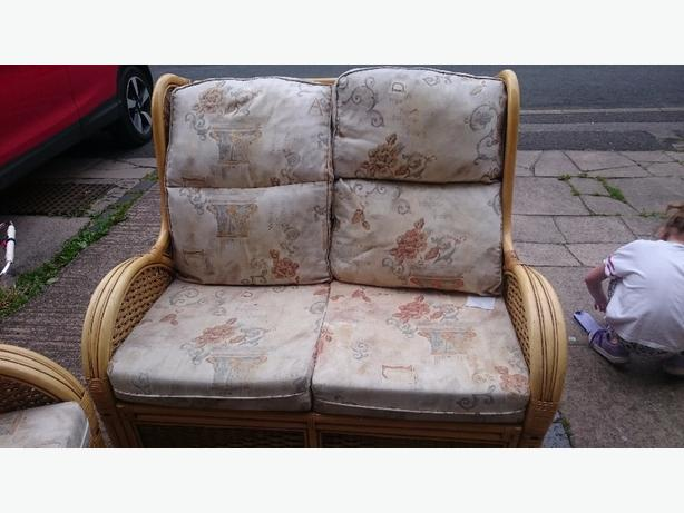 cane sofa and 2 chairs
