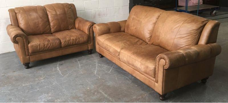 natural aniline distressed tan leather 3 2 seat sofa set. Black Bedroom Furniture Sets. Home Design Ideas