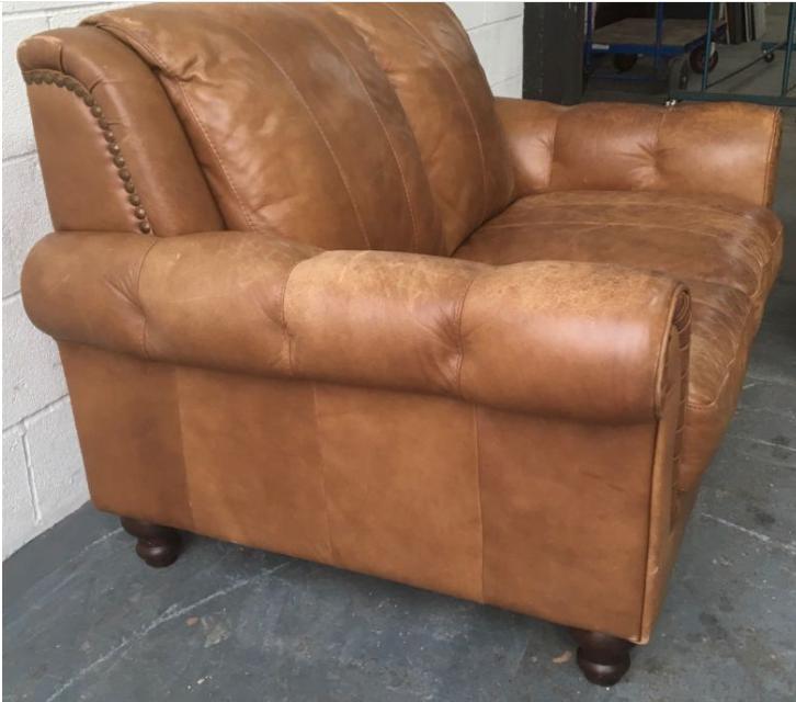 Tan Leather Sofas Sale Uk: Natural Aniline Distressed Tan Leather 3&2 Seat Sofa Set