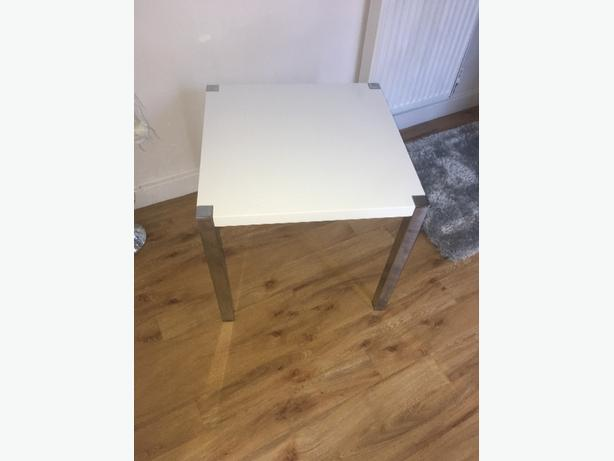 white gloss and chome side table