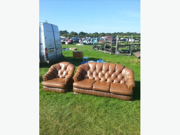 Retro / vintage leather sofa and armchair