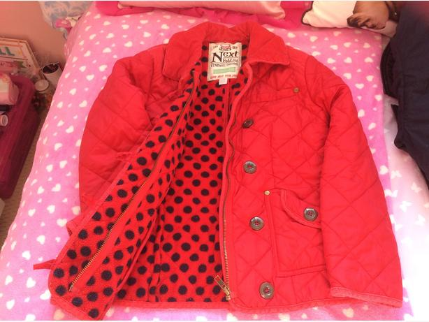 Red Next Quilted Girls Jacket Age 9-10 years