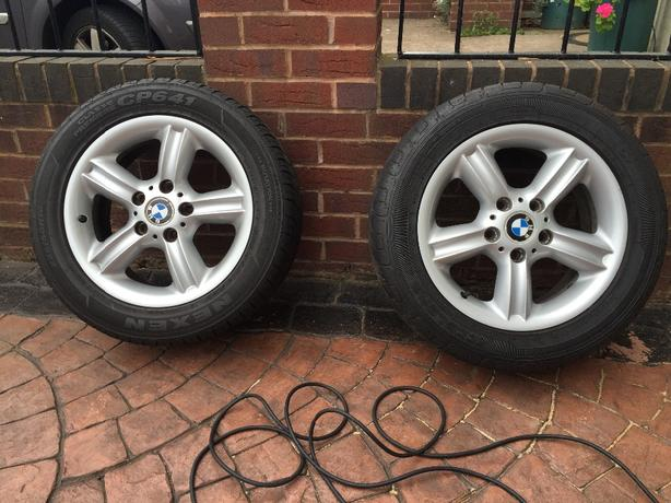 "2 x bmw style 55 alloy wheels 16"" with tyres £70 ono"