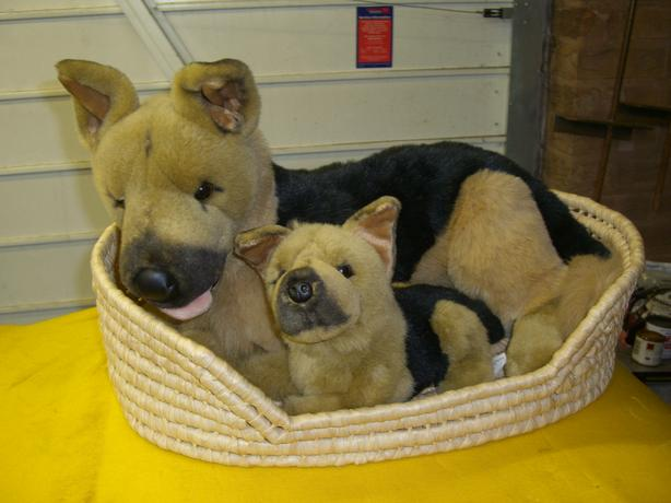 alsation and pup in basket soft toy large