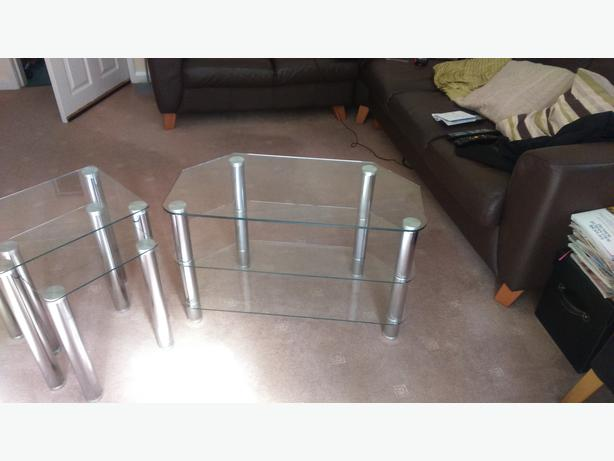 Hygena Matrix TV Unit  - Clear Glass. (Argos)