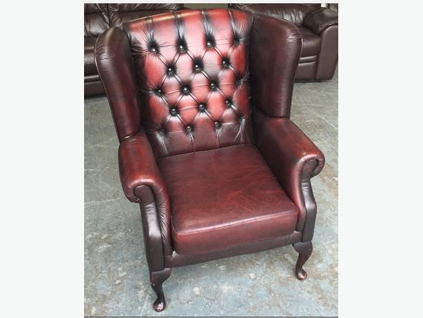 Oxblood Red Leather St Ann's Chesterfield Wingback Armchair.WE DELIVER