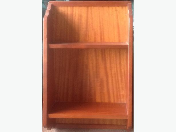 Solid mahogany wall mounted bookshelf and matching spice rack