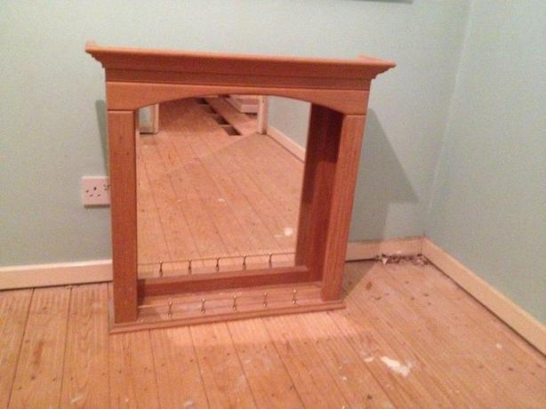 Heritage Oak Veneered Bathroom Bevelled edge Mirror shelf