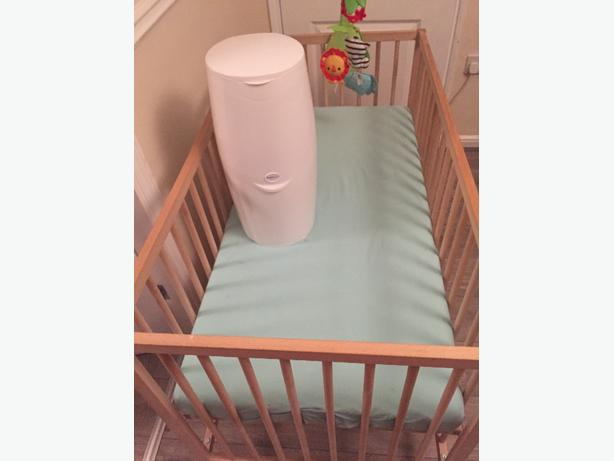 cot bed and nappy bin