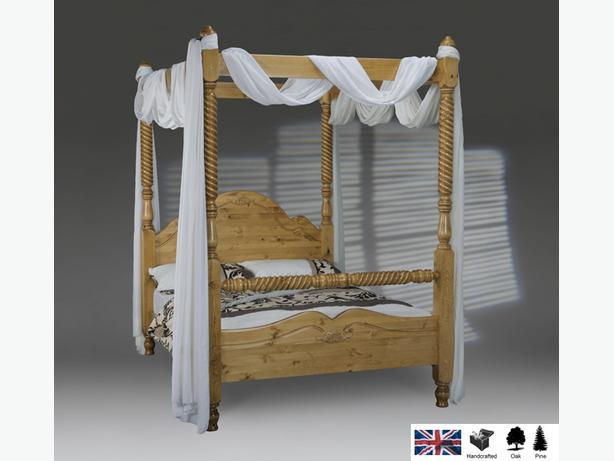 New Four Poster Natural Wood Pine Bed Barley Twist British Made