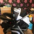 pushchair used once (black and white )