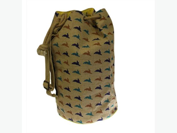 Jute animal design duffle bags