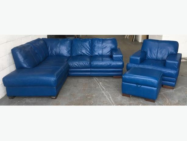 DFS Blue Leather Corner Sofa Set WE DELIVER UK WIDE