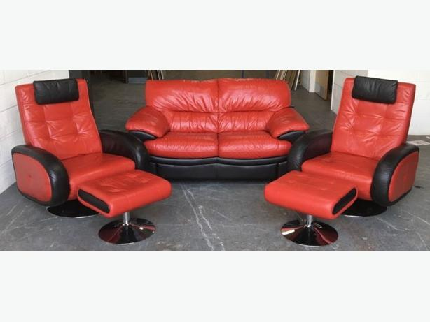 Red And Black Leather Designer 6pc Swivel Sofa Set WE DELIVER UK WIDE