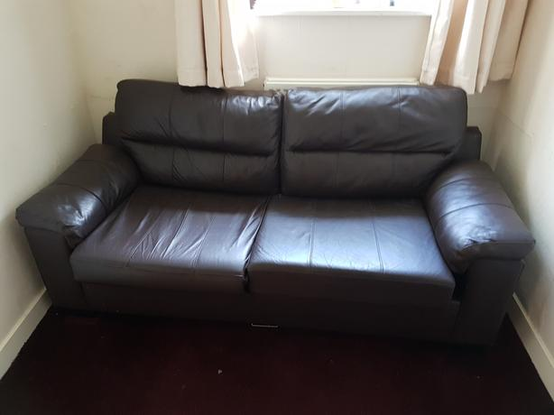 2 seater chocolate leather sofa and pull out double bed for 2 seater pull out sofa bed