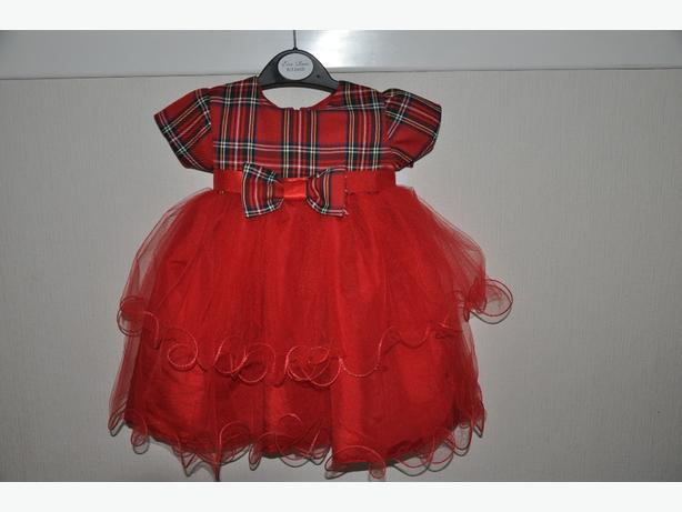 red tartan baby girls dress