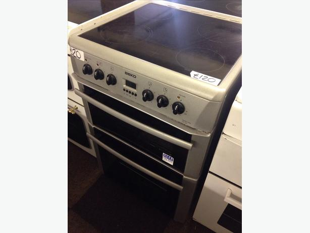 BEKO 60CM DOUBLE OVEN ELECTRIC COOKER SILVER0
