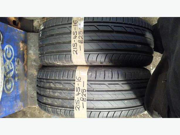 2x 215-45-16 Bridgestone Turanza T001 90V 7mm Part Worn Tyres