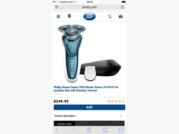 philips series 7000 smooth glide sensitive shave S7370/12