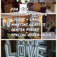 FOR HIRE Light up love letters 4ft tall & martini glasses center piece s  £100