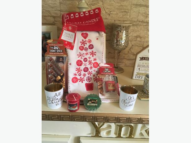 Yankee candle Christmas stocking filled with goodies