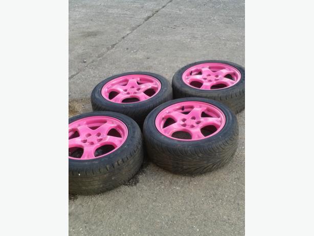 "subaru impreza 16"" alloys powder coted pink"