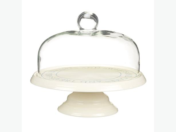 Ceramic Cake Stand & Glass Dome