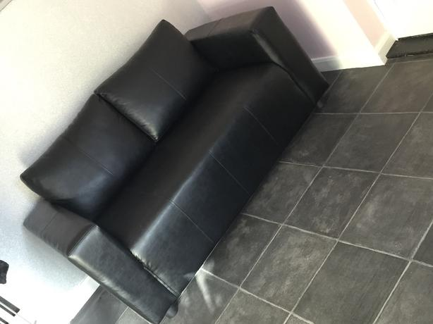Black Faux Leather 2 Seater