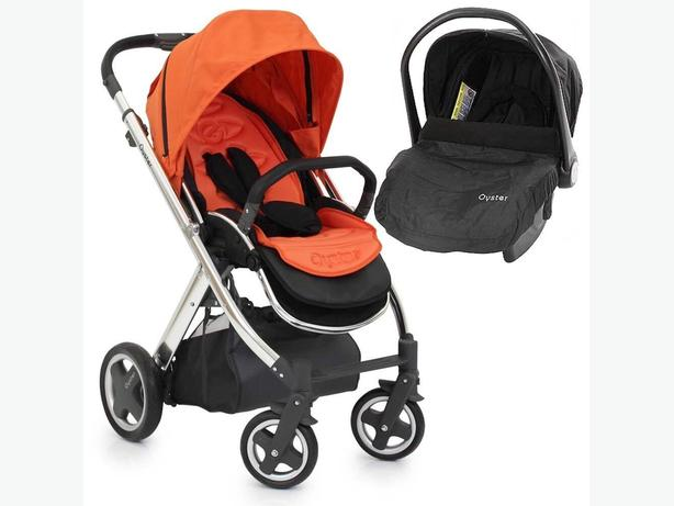 Babystyle Oyster Silver Stroller Carrot Orange + Car seat Black Travel System