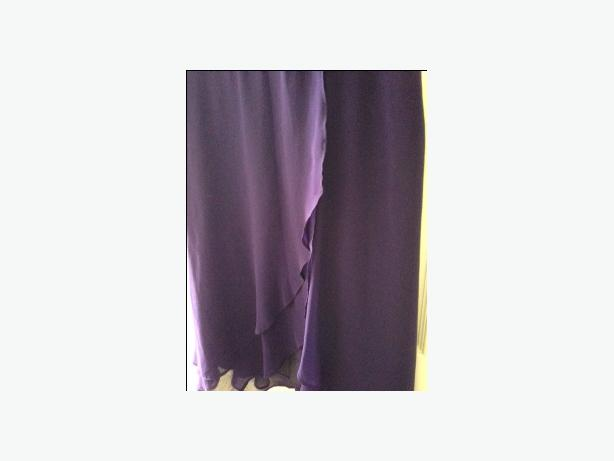 Knee length purple bridesmaid dress