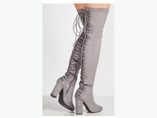 over the knee boots, grey size 8